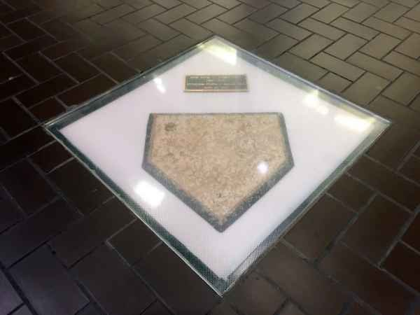 Home plate of Forbes Field which can be found in Posver Hall. Posvar Hall is on the University of Pittsburgh campus. This is said to be where home plate laid in Forbes Field
