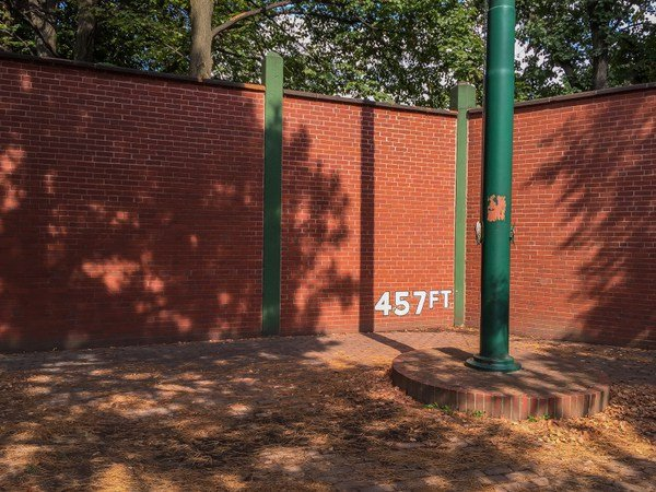 The outfield wall of Forbes Field can be found on Roberto Clemente drive today. This is in between Schenley Drive and South Bouquet street. A visitor could walk the length of the outfield wall where Forbes Field once stood.