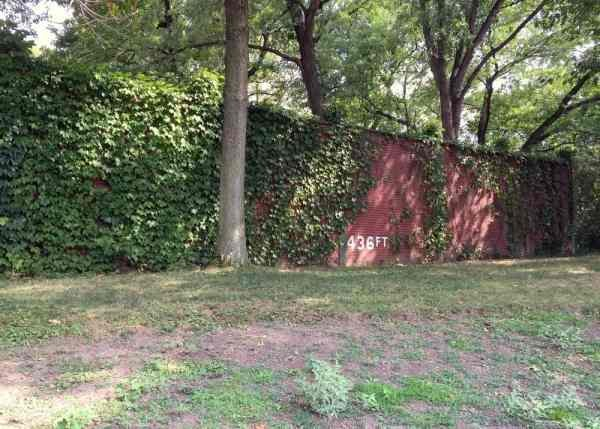 The outfield wall of Forbes Field today. Forbes Field never witnessed a no hitter and is home to the last triple header ball game. The Pirates hosted the Reds on October 2nd 1920.