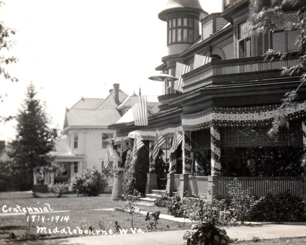 Powell-Shore house dressed up for the town centennial parade in 1914