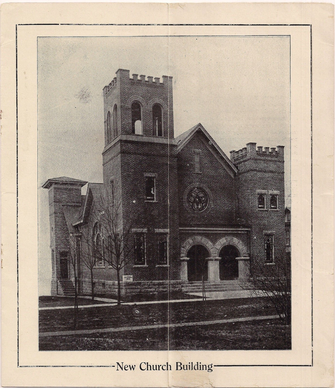 """The impressive 1911 edifice. Notice the back left """"steeple"""". That is the steeple from the ca. 1890 building, shown in the below photograph."""