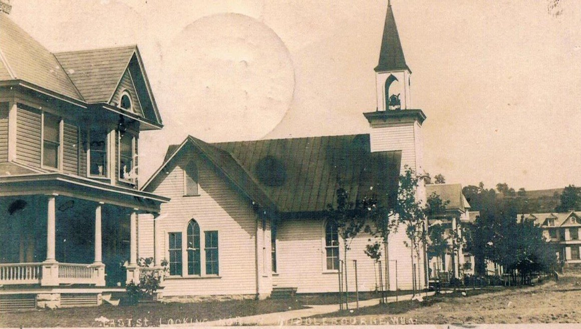 """Middlebourne Methodist Episcopal Church before the 1911 remodeling and """"addition""""."""
