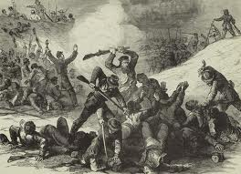 1864 image from Harper's Weekly depicts the massacre of Union troops after they had surrendered