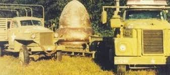 Military involvement in the discovery of the metallic acorn-shaped object that crash landed in Kecksburg, Pennsylvania. These trucks secretly carried away the object during the night to avoid attention from the crowds of people and reporters.