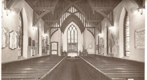 The interior of St. James' as it appeared in the 1960s