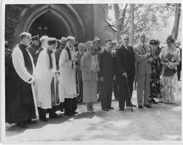President Franklin D. Roosevelt, along with his son James, wife Eleanor, and mother Sara, attend church at St. James' with King George VI and Queen Elizabeth of England in June 1939