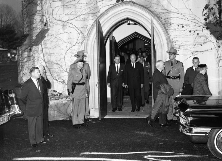 Former president Harry Truman, his wife Bess, former president Dwight Eisenhower, and Governor Nelson Rockefeller of New York leave St. James'  Church after the funeral of Eleanor Roosevelt, November 10, 1962
