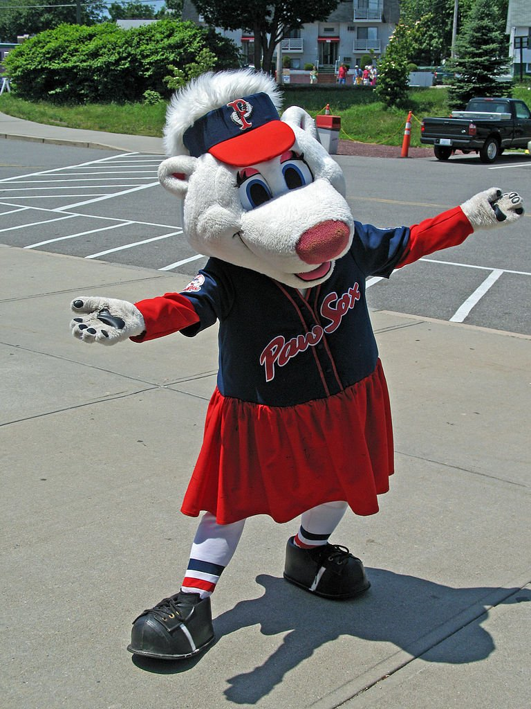 One of two Pawtucket Red Sox mascots - this one's named Sox. Any guesses as to the other one's name? (Spoiler: it's Paws.)