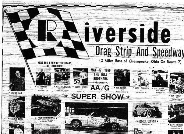 "An advertisement for the ""Riverside Drag Strip and Speedway"""