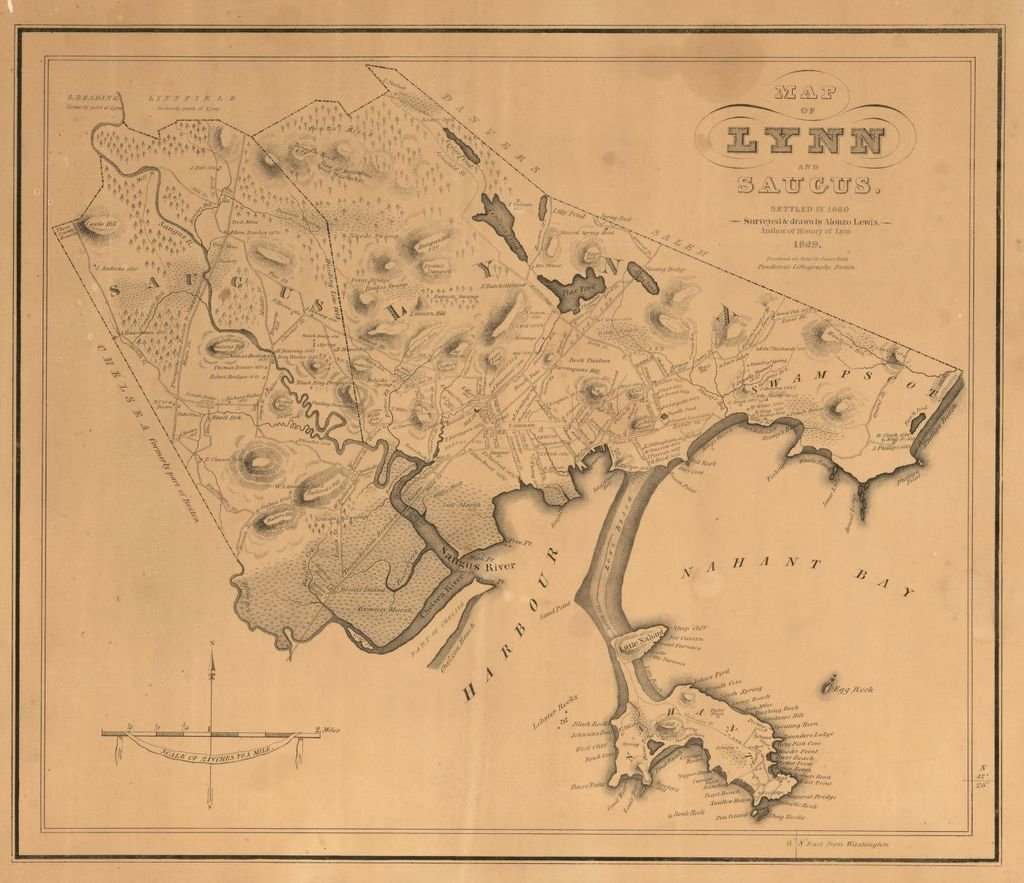 1829 map of Lynn and Saugus (image from the Library of Congress)