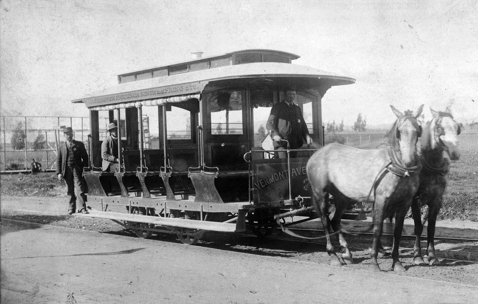 A Los Angeles example of a horse-drawn omnibus trolley (image from KCET Media)