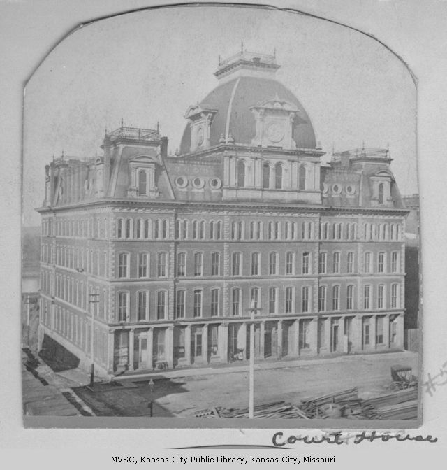 The first courthouse in Kansas City stood on Second and Main Streets from 1872 until a tornado destroyed the top two floors in 1886. Image courtesy of the Missouri Valley Special Collections.