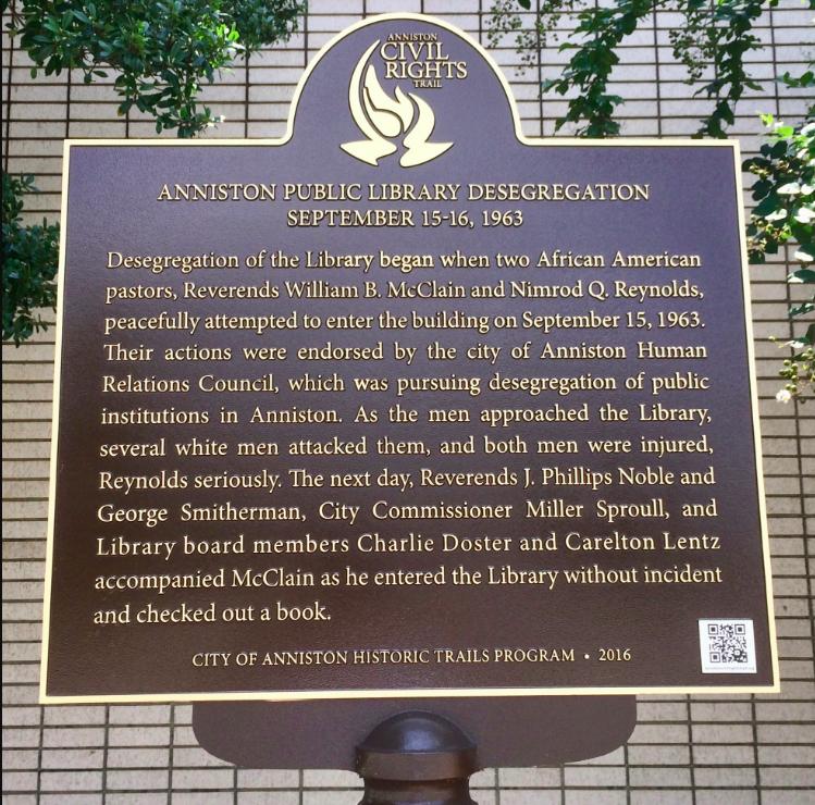 Anniston Public Library Desegregation Marker