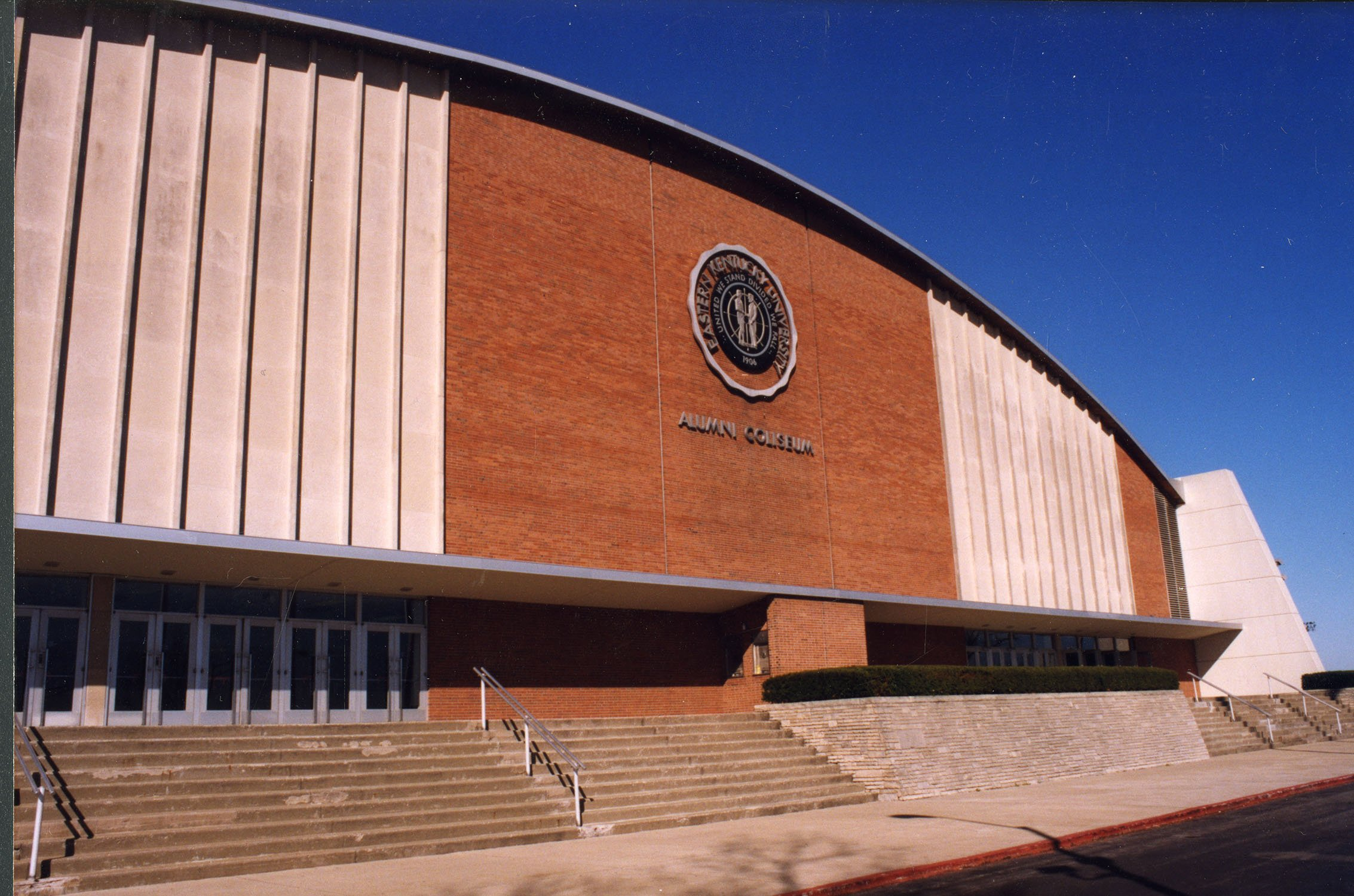 Alumni Coliseum exterior, ca. 2000. EKU Photograph Collection.