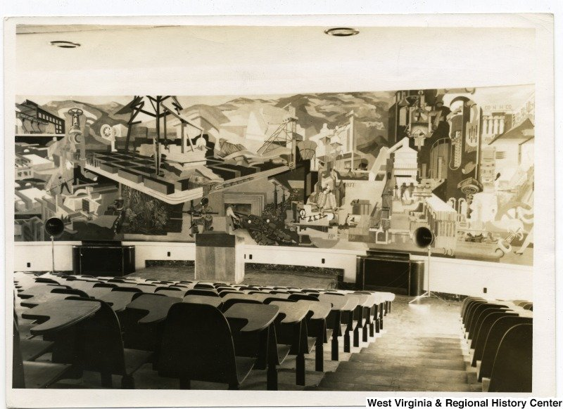 WVU commissioned the mural in the 1940s after Lepper successfully created murals for post offices as part of the Treasury Department's Section of Fine Arts. Courtesy West Virginia and Regional History Center, WVU Libraries.