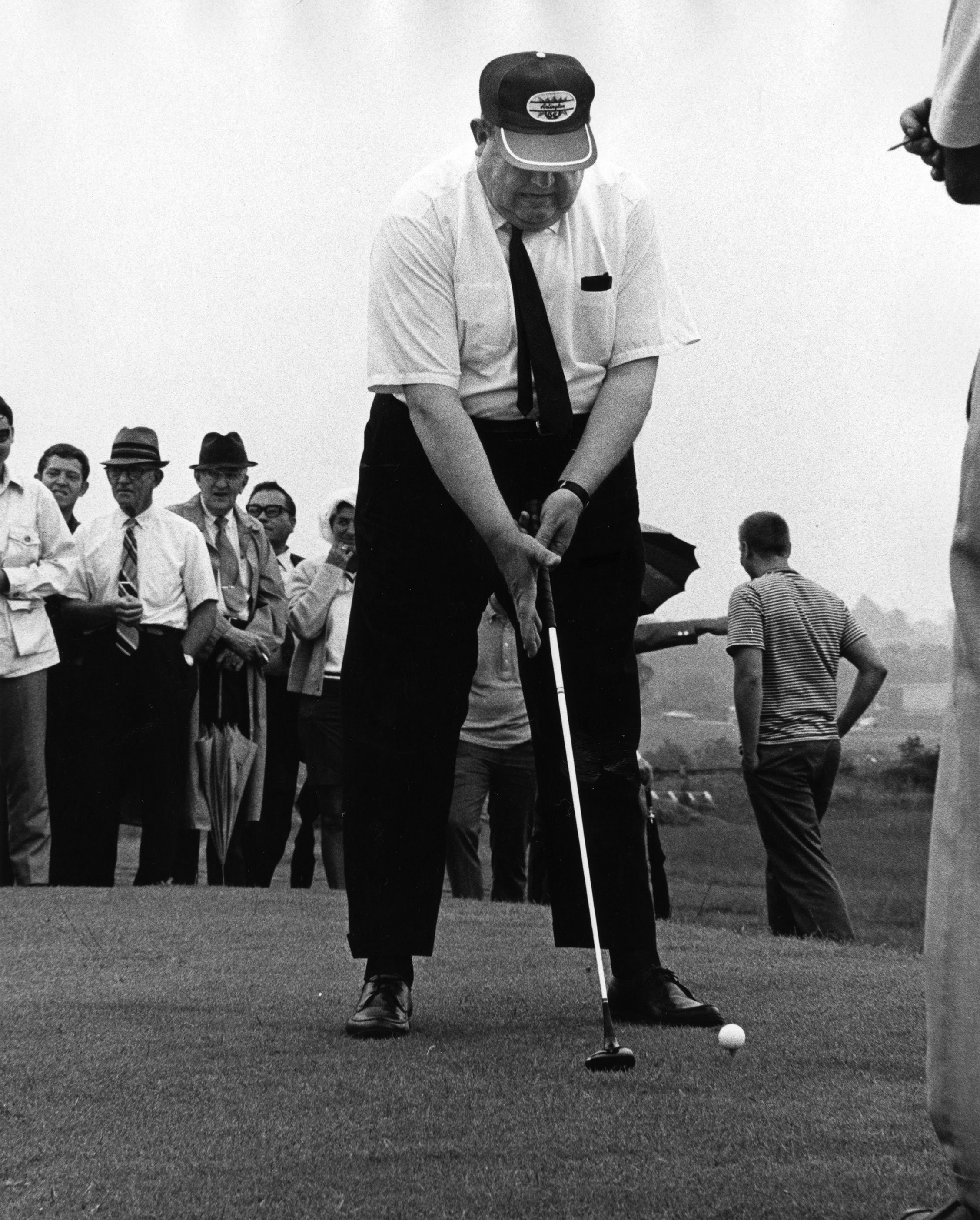 EKU President Robert Martin at the grand opening of the Arlington golf course, June 1970.  EKU Photograph Collection.