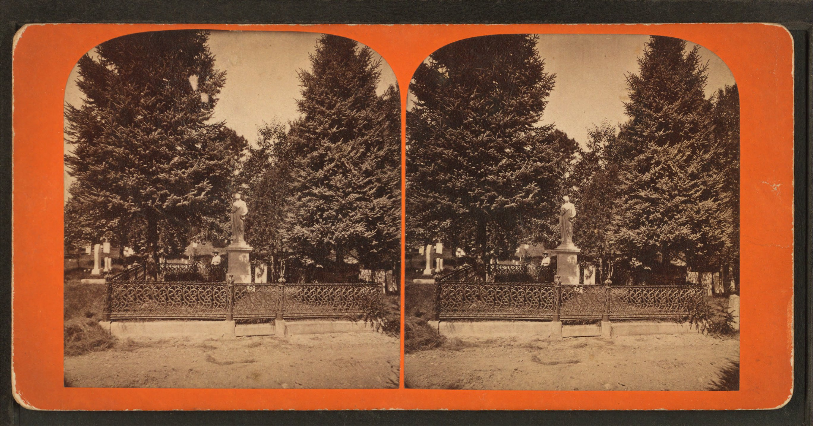 Swan Point Cemetery, a stereoptic view from the 1870s.