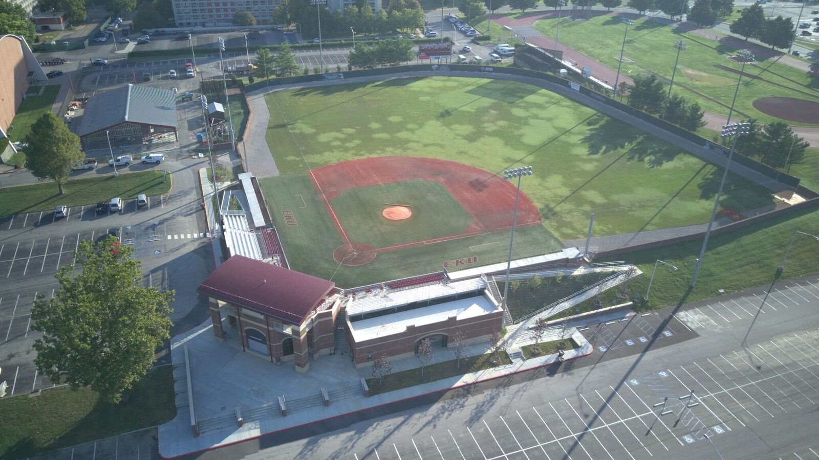 Aerial view of Earle B. Combs Stadium and Turkey Hughes Field.