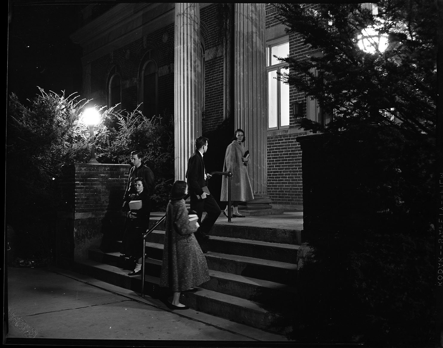 Students walking down the stair in front of the Crabbe Library. EKU Photo Collection.