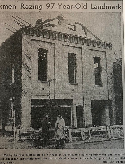 The original church building was razed in 1952