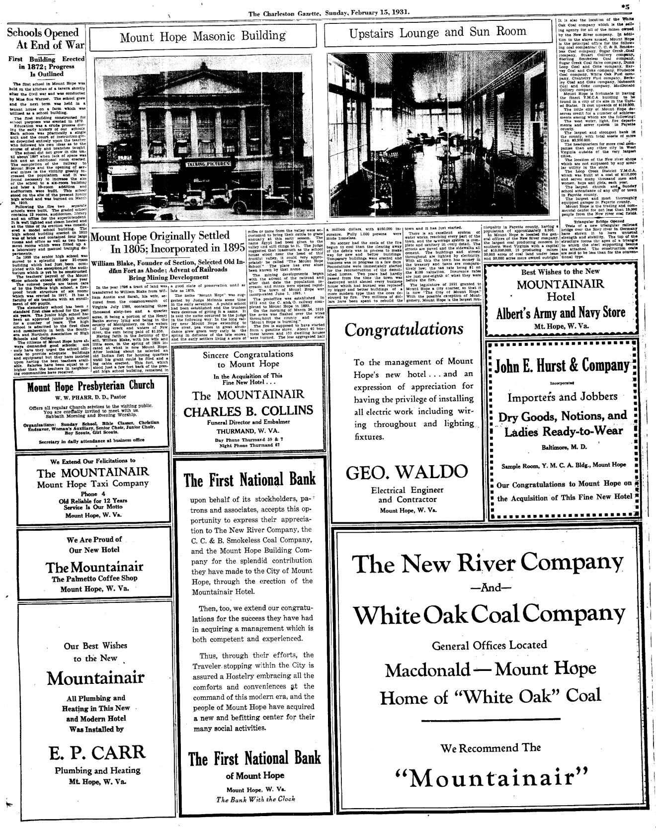 This is part of a special section of the Charleston Gazette that featured all the amenities of the town of Mount Hope offered travelers to the area.