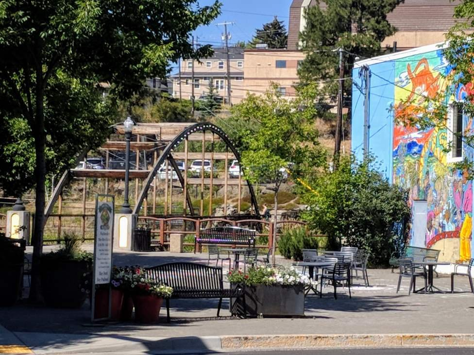 The Pine Street Plaza with Mural and Bridge