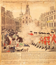 """Although a trial determined that Captain Preston was not standing behind a line of soldiers and did not order them to fire, colonial patriots were able to create the impression that the event was a clear """"massacre"""""""