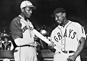 Legendary baseball players Josh Gibson (right) and Satchel Paige (left)