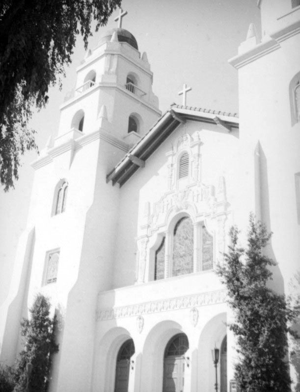 Close-up of the exterior of Church of The Good Shepherd ca. 1937
