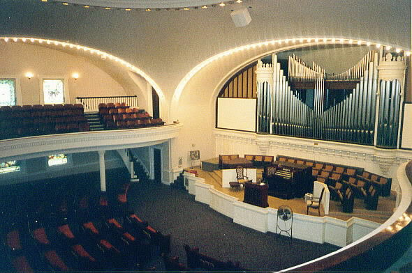 Sanctuary of the church. Image obtained from the Independence Boulevard Christian Church.