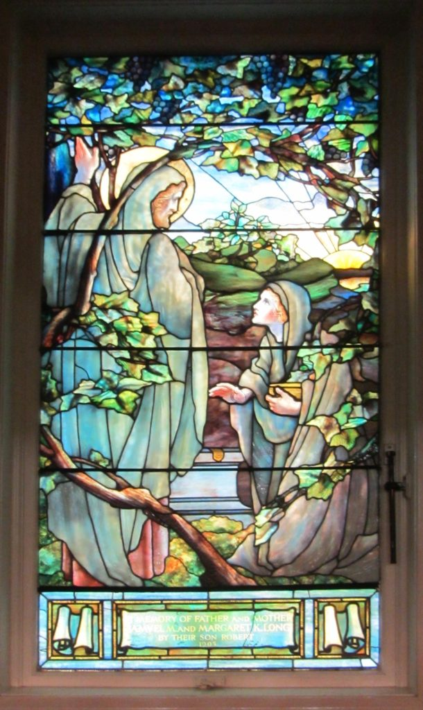 The church contains several original stained glass windows. This one, commissioned by R. A. Long in honor of his parents, was produced by Tiffany Studios in New York City. Imaged obtained from the Independence Boulevard Christian Church.
