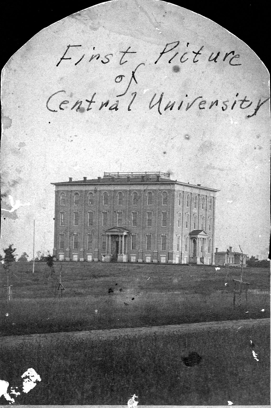 Exterior of University Building, Ellendale in the background, first picture of Central University. EKU Photo Collection.