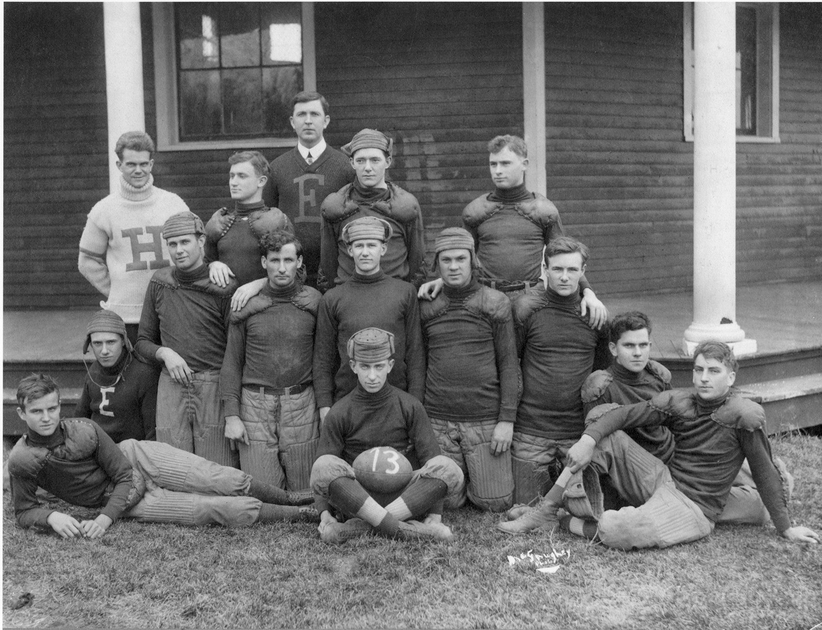 1913 Eastern football team posed in front of the Miller Gymnasium. EKU Photo Collection.