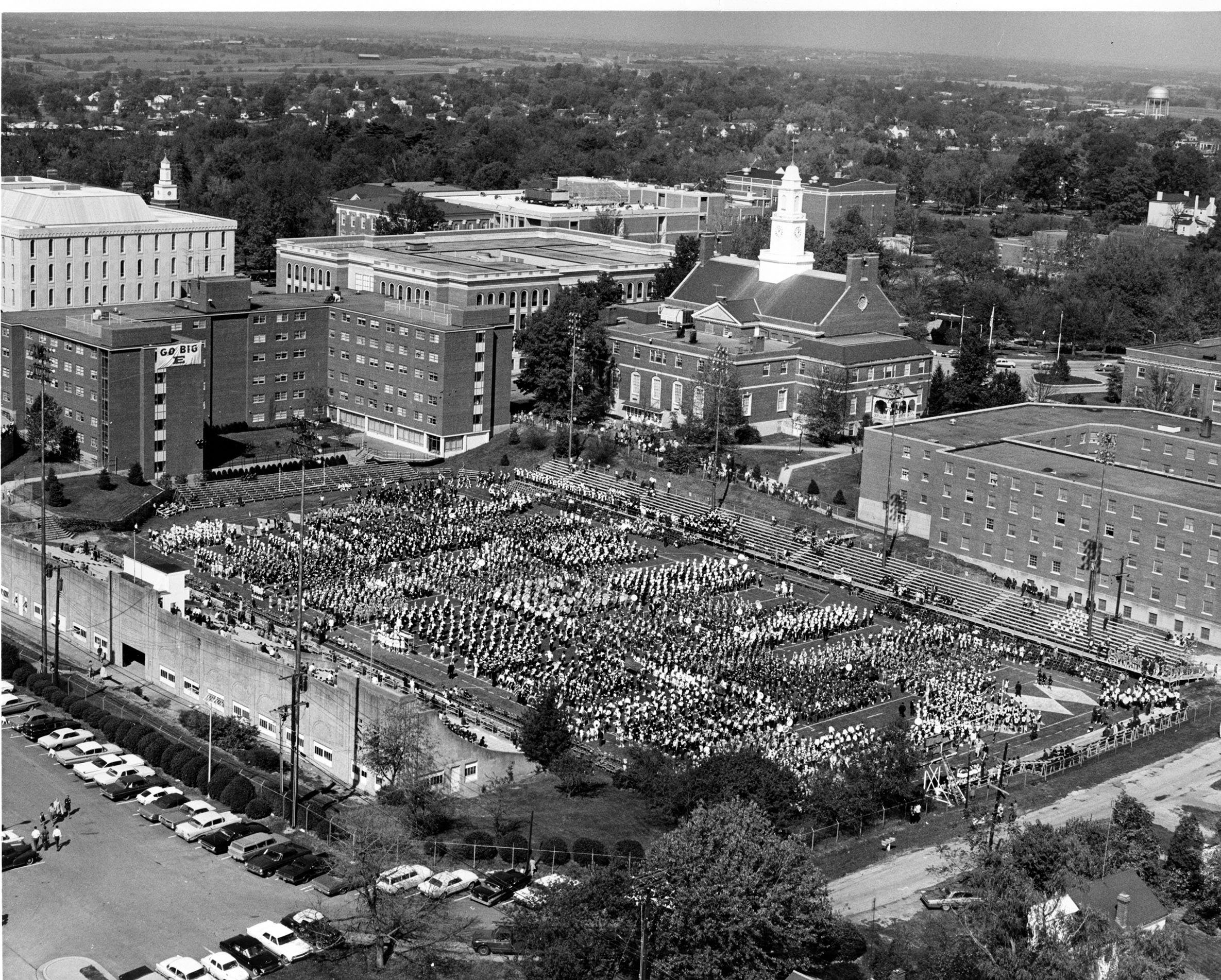Hanger Stadium, aerial view, high school marching bands cover the field, Band Day, 1967.  EKU Photo Collection.