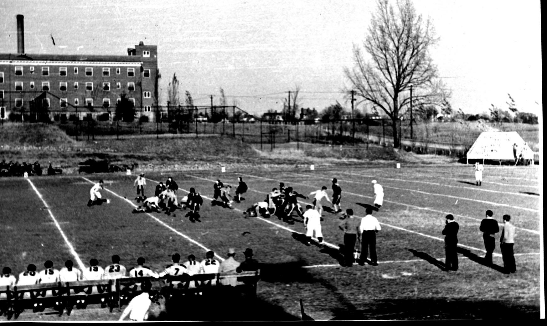 Eastern vs. Morehead football game at Hanger Stadium, 1937.  Garrett Morris Photograph Collection.