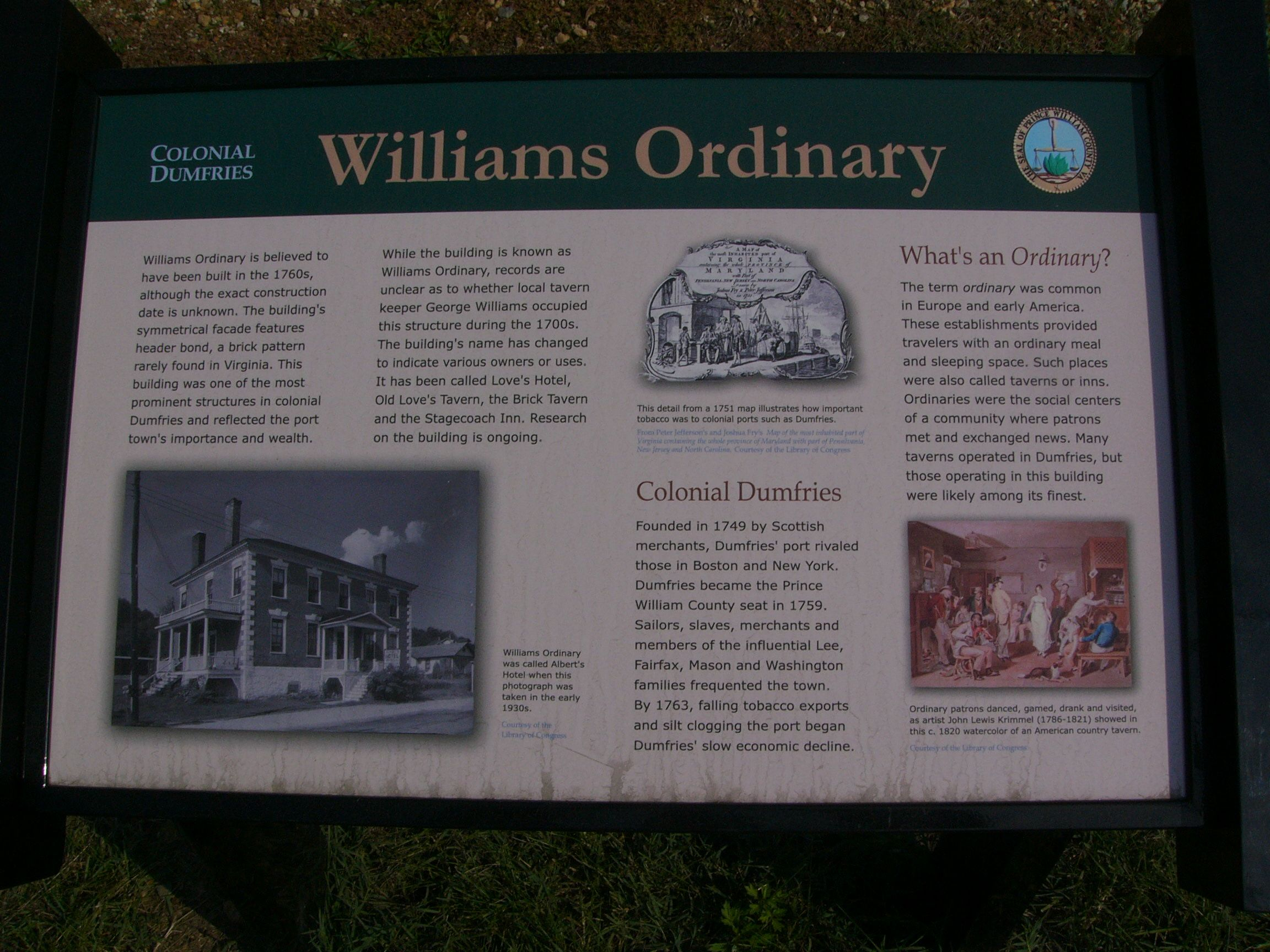 """Colonial Dumfries: Williams Ordinary"" Marker"