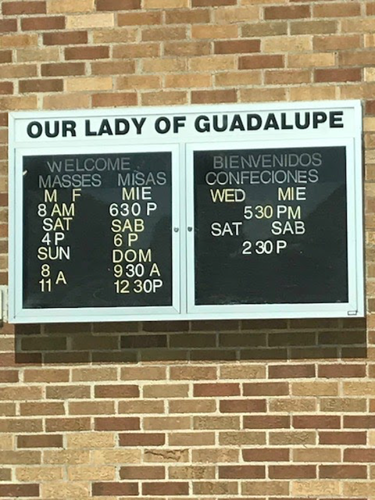 Time schedule for Our Lady of Guadalupe Church