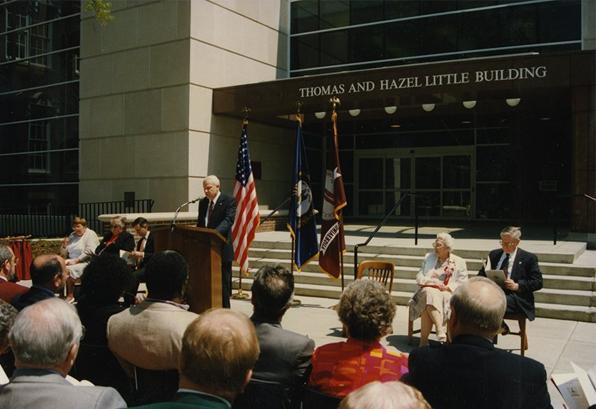 Hanly Funderburk speaking at the dedication of the Thomas and Hazel Little addition of the Crabbe Library, 1996.  EKU Photo Collection.