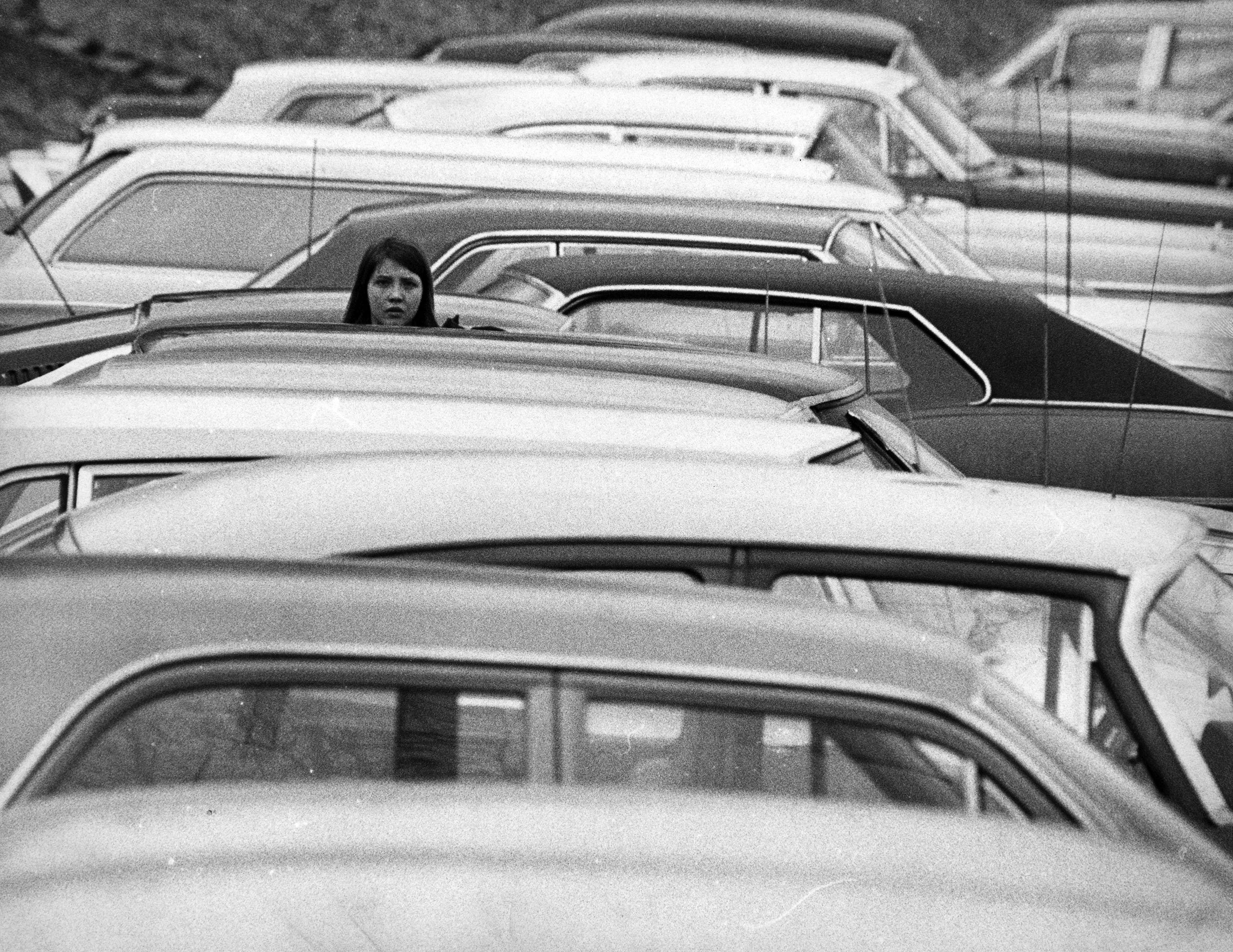 Cars parked in front of Sullivan Hall, 1970.  EKU Photograph Collection.