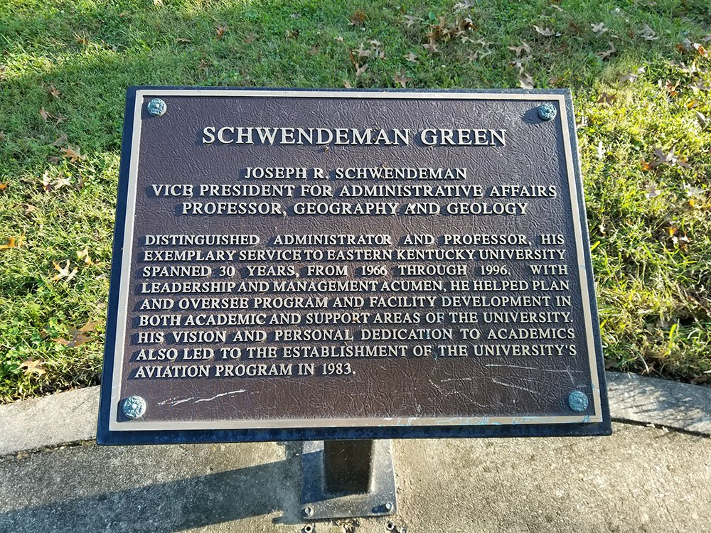 Schwendeman Green memorial plaque.