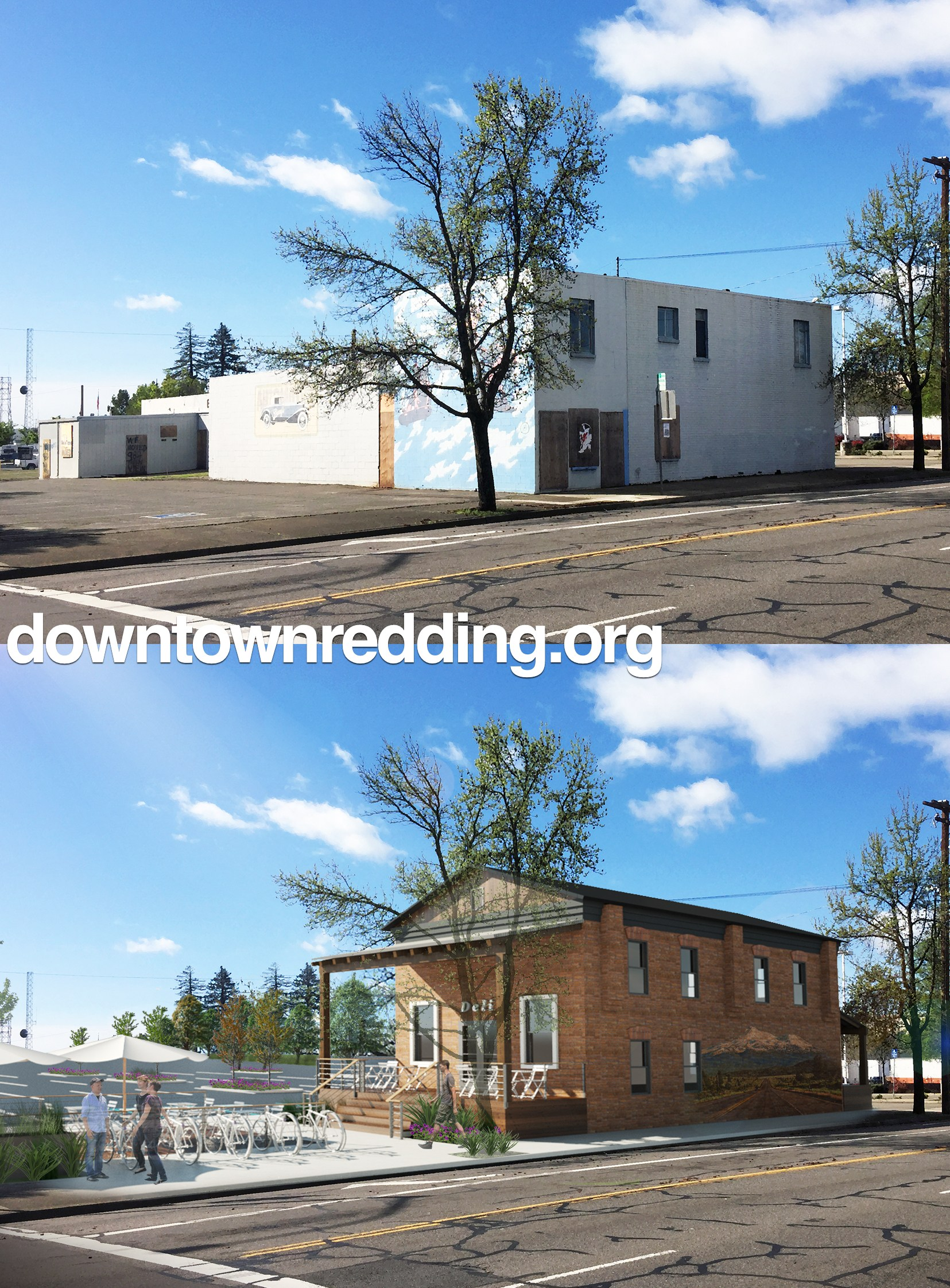 The Bell Rooms building, c. 2016 (top) and an architectural rendering of a new plan to preserve the property (bottom)