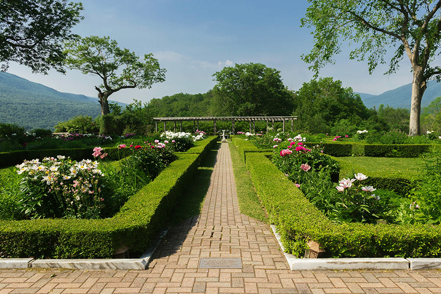 A view of Hildene's formal gardens.