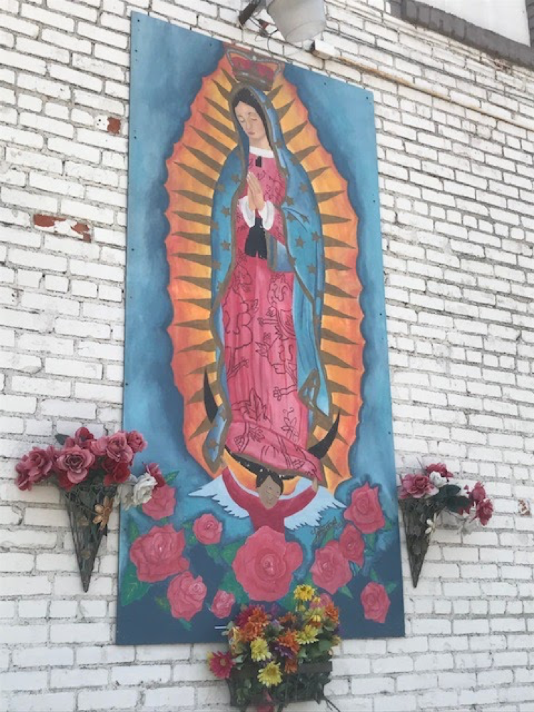 Our Lady of Guadalupe mural in NoMar International Market