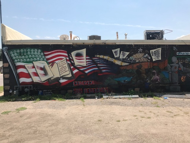 """Back Side of the """"Immigration is Beautiful"""" mural"""