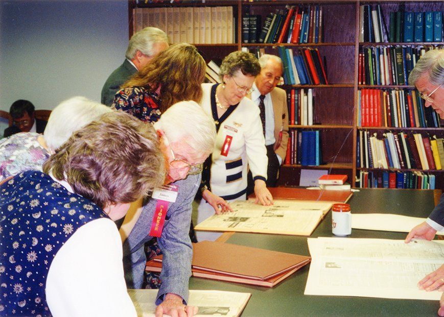 Alumni inspecting the University Archives, 1995.  EKU Photo Collection.