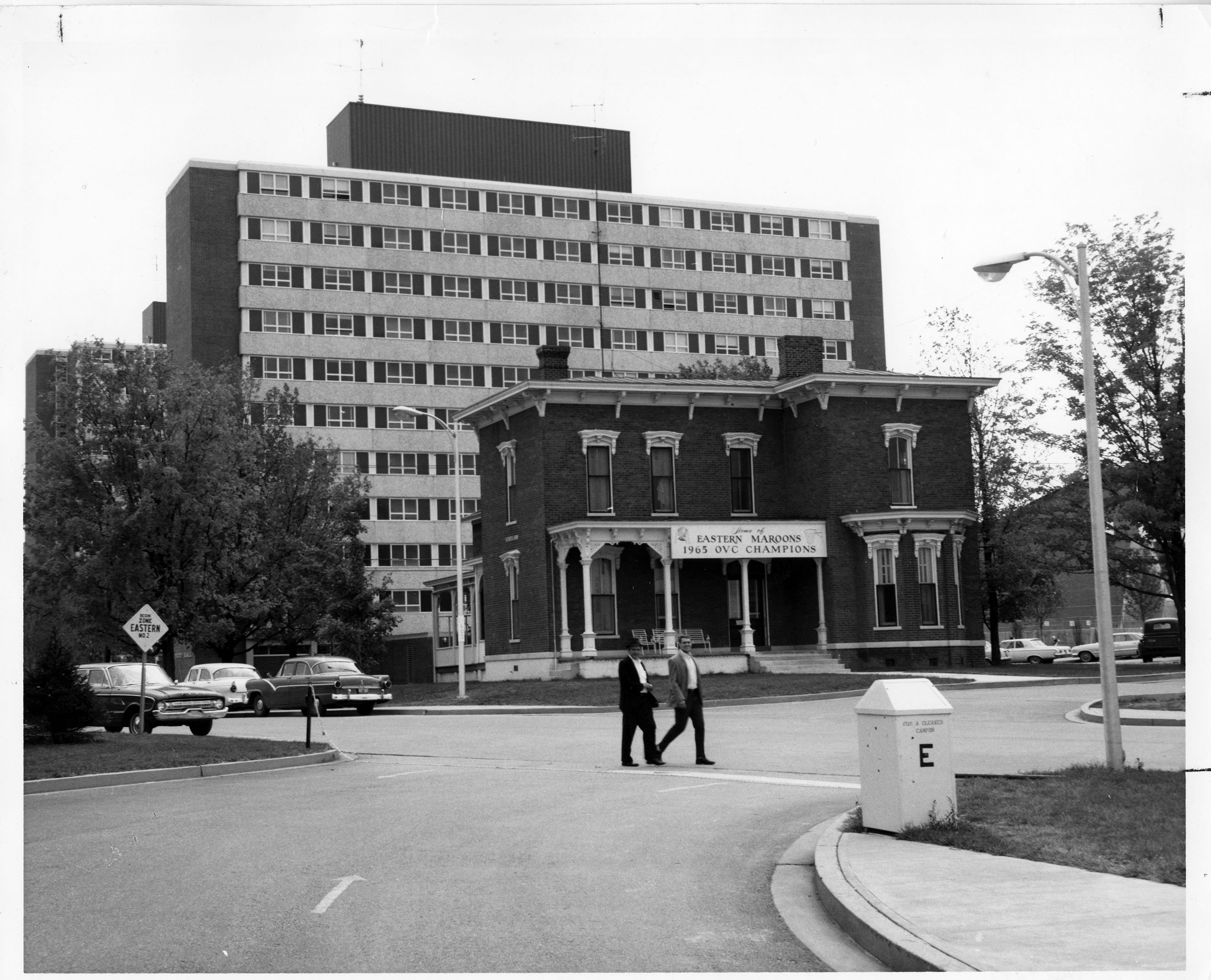 Ellendale Hall in front of Todd and Dupree Halls, 1966. EKU Photograph Collection.