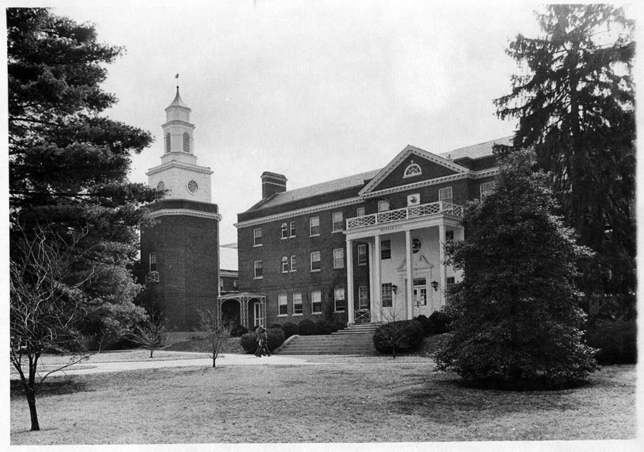 Beckham Hall with the Miller Hall tower. EKU Photo Collection.