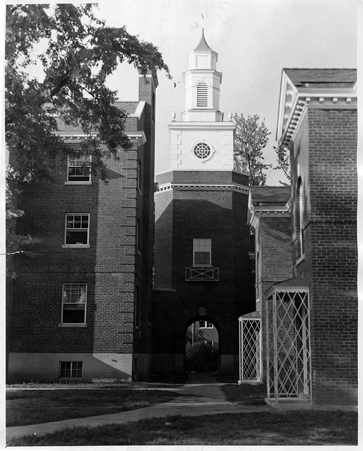 Miller Hall tower and arch. EKU Photo Collection.