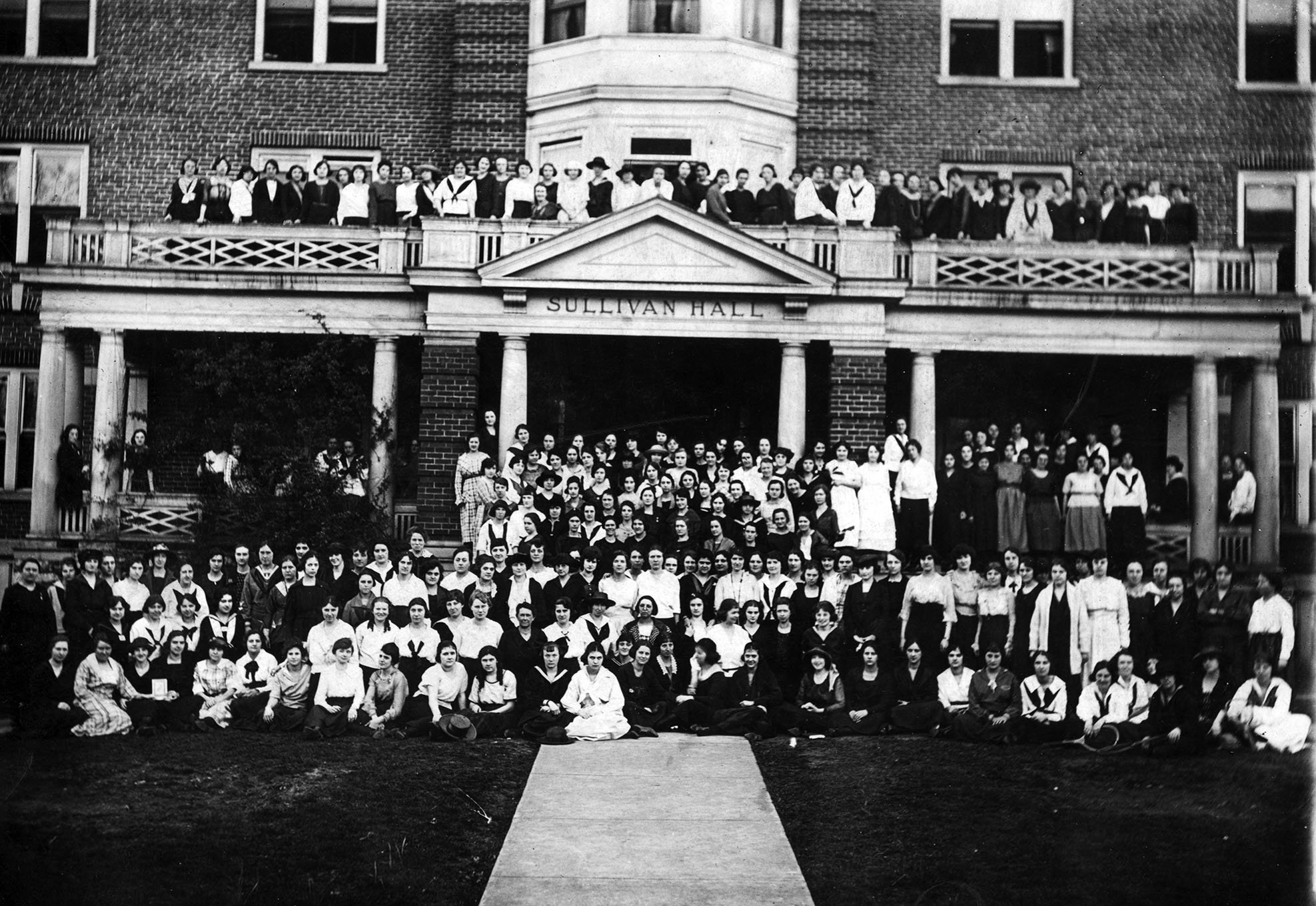 Women student body in front of Sullivan Hall, 1920s.  EKU Photo Collection.