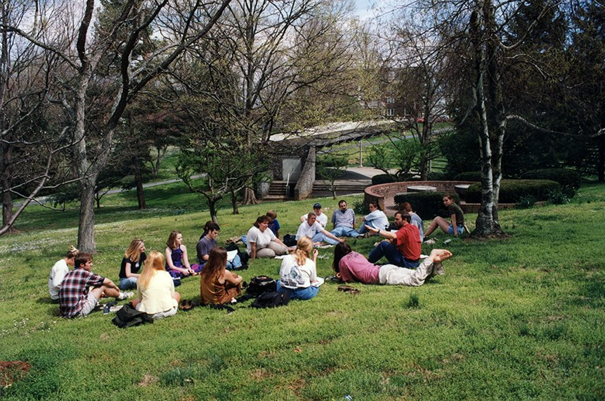 Students in the Ravine, c. 2000.  EKU Photo Collection.
